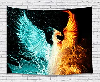 Fantasy Phoenix Tapestry Wall Hanging, Water Ice and Fire Rising Phoenix Animal Anime Premium Home Art Wall Blankets Decor, Upgrade Tapestries for Bedroom Living Room College Dorm 60X40 Inches