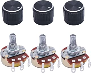 Uxcell a15010500ux0839 5 Piece 20K Ohm Linear Taper Rotary Potentiometer 20KB B20K Pot with Knobs