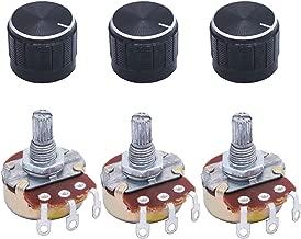 TWTADE / 3pcs wh138 100 ohm Potentiometer Single Turn Rotary Linear Variable Potentiometer +3pcs black Aluminum alloy knob