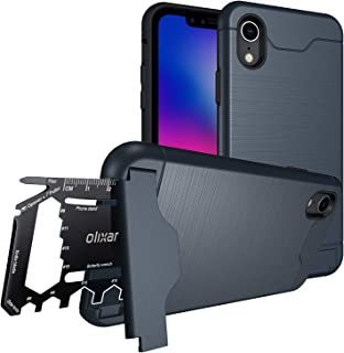 Olixar for iPhone XR Tough Case - with 26 in 1 Survival Multi Tool - Protective Armour Cover - Credit Card Slot & Built in Stand - X-Ranger - Black
