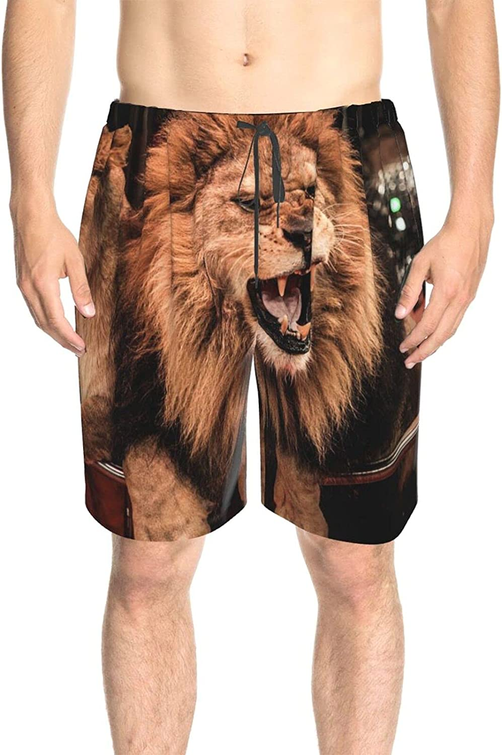 JINJUELS Mens Swim Trunks Angry Lion Bathing Suit Boardshorts Fast Dry Fashion Swimwear Bathing Suits with Mesh Lining
