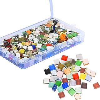 BELIOF 450 pcs de Carreaux Mosaique de Loisir Creatif Carrelages Mosaic Colorés de Bricolage Morceaux Paillettés en Verre ...