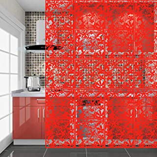 YIZUNNU Hanging Room Divider Made of Environmental PVC Panels Screen, Room Divider for Decorating Living Room, Dining Room, Sitting Room, Office, Restaurant Decoration(Red, 12 pcs)