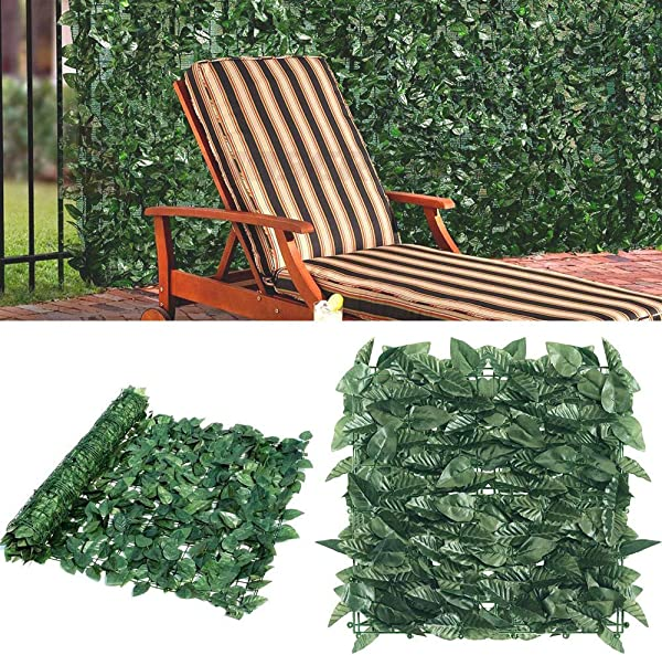 Goasis Lawn Artificial Hedge Fence Panels Topiary Hedge Boxwood Plant Privacy Screen Outdoor Indoor Use Garden Fence Backyard Home Decor Greenery Walls 4 Rolls