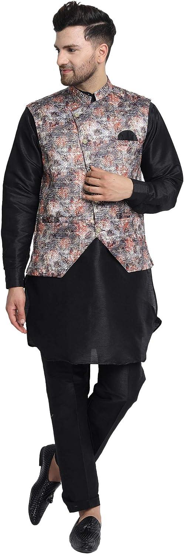SKAVIJ Men's Kurta Pajama and Jacket (Waistcoat) Silk Blend Festive Wedding Suit Dress Set