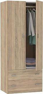 Armario ropero 2 Puertas 2 cajones habitación Juvenil Matrimonio Auxiliar Color Cambrian 180x74x50 cm