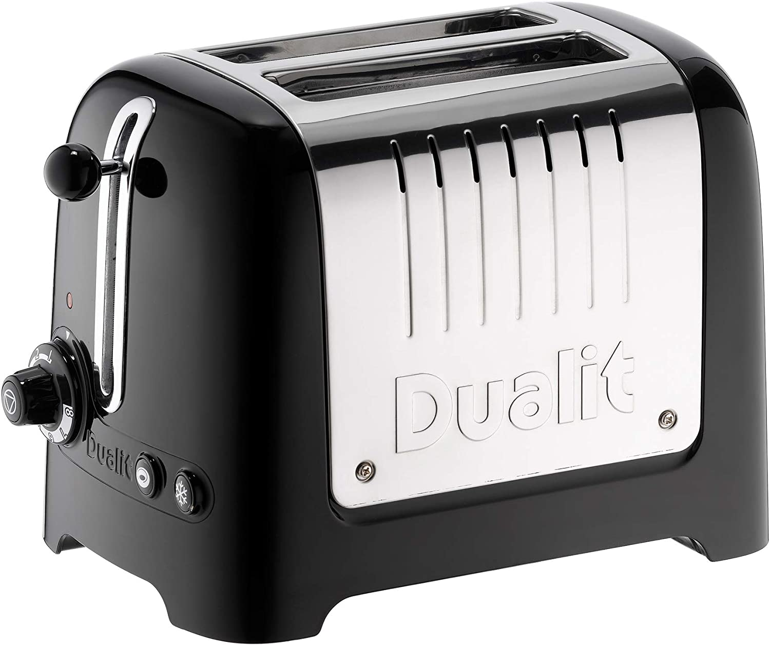 Dualit 2 Slice Lite Toaster   1.1kW Toasts 60 Slices an Hour   Polished with High Gloss Black Trim   Bagel & Defrost Settings   36 mm Wide Slots   26205