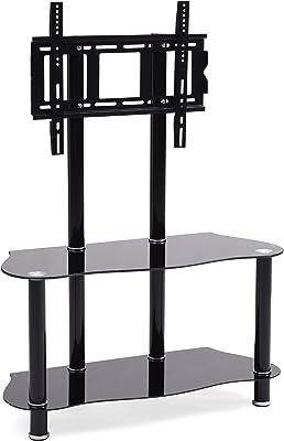 Hodedah Glass Mount Tv Stand, Black