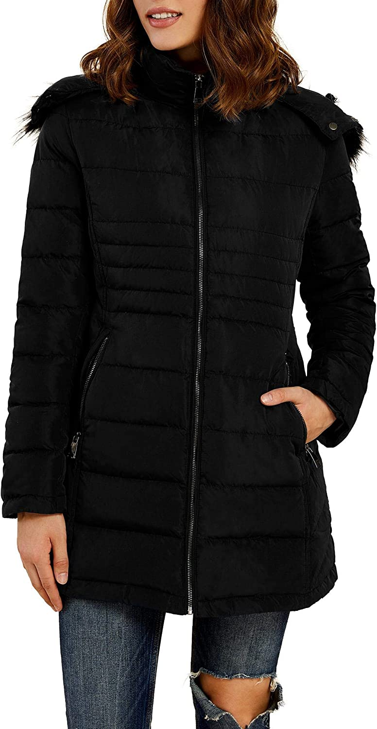Womens Winter Mid Length Down Jackets Full Zip Puffer Parka Coats with Faux Fur Trim Hood