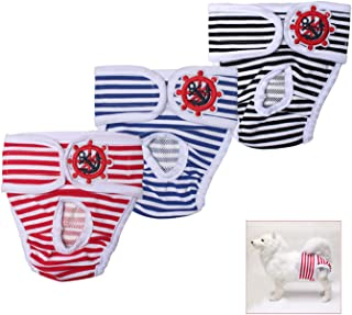 TONY HOBY Washable Cute Stripe Dog Diaper (3 Pack) of Durable Diaper for Male & Female Dog Diapers