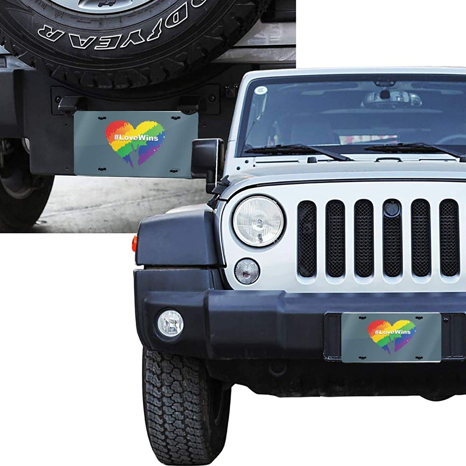 6 X 12 Aluminum License Plate Pride Heart Love Wins Customized USA Car Tag Front License Plate Miniisoul Wall Decoration License Plate Personalized