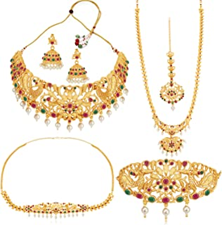 Sukkhi Traditional Pearl Gold Plated Peacock Dulhan Set for Women (SKR70420), pink & green, free size
