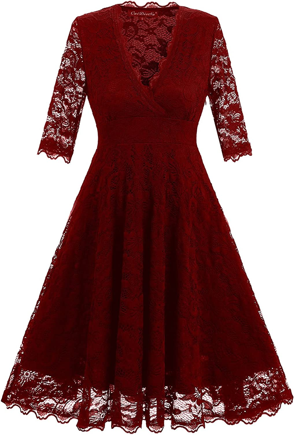 Absolute Rosy Women's 3 4 Sleeve V Neck Wrap Floral Lace Party Dress