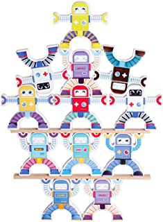 Wooden Robots Stacking Balancing Block Puzzle Game Building Toy Educational STEM Montessori for Preschool Kids Toddlers So...