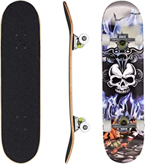 Skateboard Complete Standard Skate Board 7 Layer Canadian Maple Double Kick Concave Durable Stable for Kids Youth Adult Te...