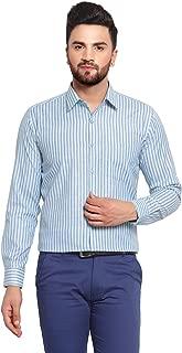English Navy Men's Slim Fit Formal Shirt (2038Blue-Green_Blue & Green_38)