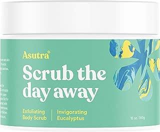 ASUTRA Dead Sea Salt Body Scrub Exfoliator (Invigorating Eucalyptus), 12 oz | Ultra Hydrating, Gentle, Moisturizing | All Natural & Organic Jojoba, Sweet Almond, Argan Oils