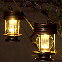 Obell Hanging Solar Lights 2 Pack Outdoor Garden Lights LED Retro Solar Hanging Lanterns with Handle for Pathway Yard Pati...