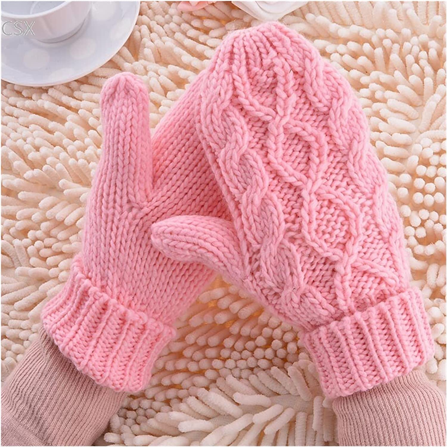 JSJJAWS Winter Gloves Warm Winter Gloves Women Mittens 8 Color Woman Ladies Lovely Knitted Gloves Girls Gift (Color : Red)