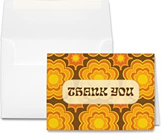 Retro 70s Style Thank You Cards & Envelopes - 24 Sets