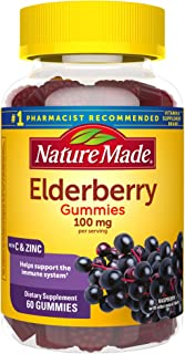 Nature Made Elderberry 100mg with Vitamin C & Zinc Gummies, 60 count to Help Support the Immune System†