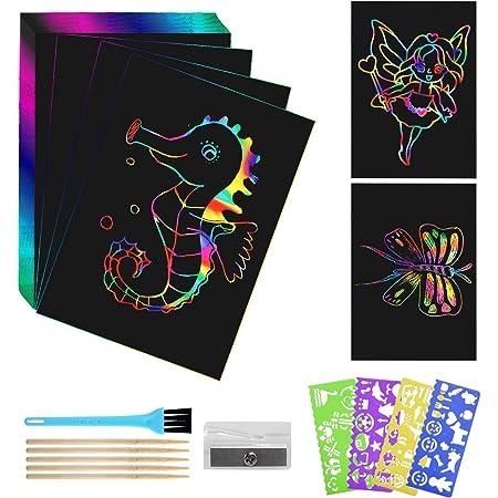 LinStyle Scratch Art, 50 Hojas Dibujo Scratch Art Creativas Scratch Art para niños, Obras De Arte De Raspado con Plantillas para Dibujar, Estilográficas De Madera, Reglas De Dibujo y Sacapuntas