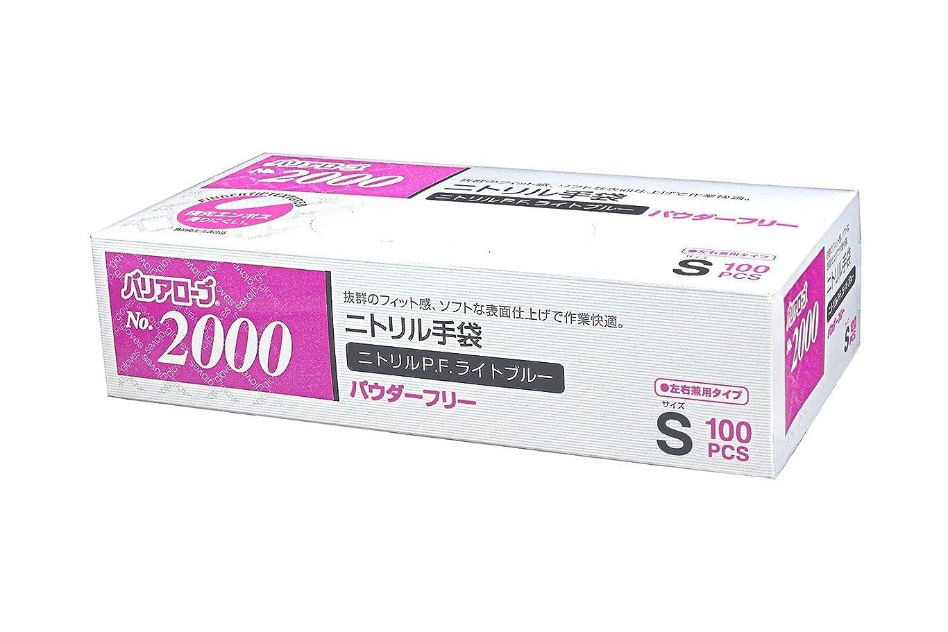 マイクロレディアラバマ【ケース販売】 バリアローブ №2000 ニトリルP.F.ライト ブルー (パウダーフリー) S 2000枚(100枚×20箱)