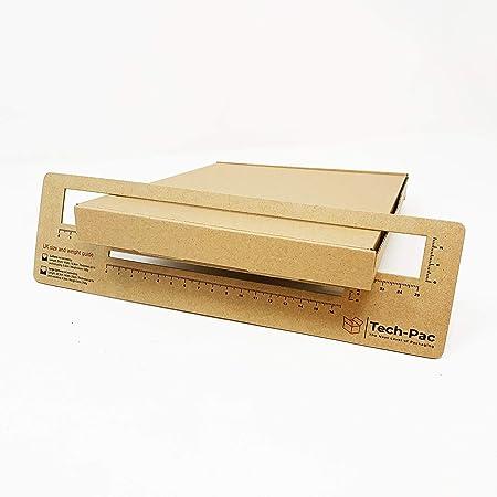 Lot de 5 grandes boîtes postales 235 mm x 190 mm x 24 mm - Petite taille - Avec guide de lettre GRATUIT - Emballage carton Kraft - Marron
