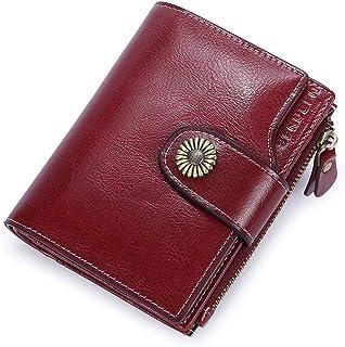 93b3cce79 Carteras Mujer Cuero Billetera Pequeña con Cremallera RFID Bloqueo de Cera  Piel Vintage Monederos Mujer con