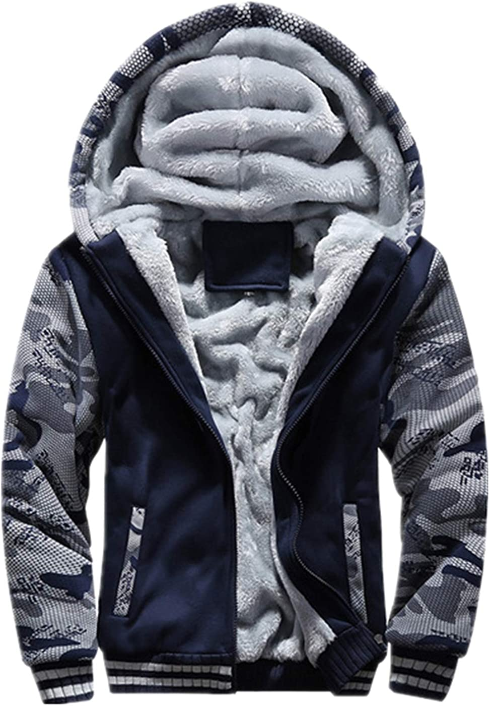 JiangWu Hoodies for Men Winter Cheap super special price Sherpa Z Purchase Fleece Heavyweight Lined