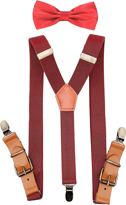 AYOSUSH Boys Suspenders and Bow Tie Set Adjustable Elastic Vintage Y Back Braces