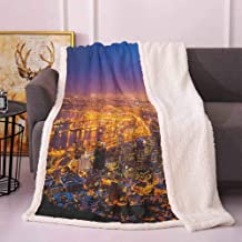 City Lightweight Blanket Cape Town Panorama at Dawn South Africa Coastline Roads Architecture Twilight Throw Blanket for Couch Marigold Blue Pink 50
