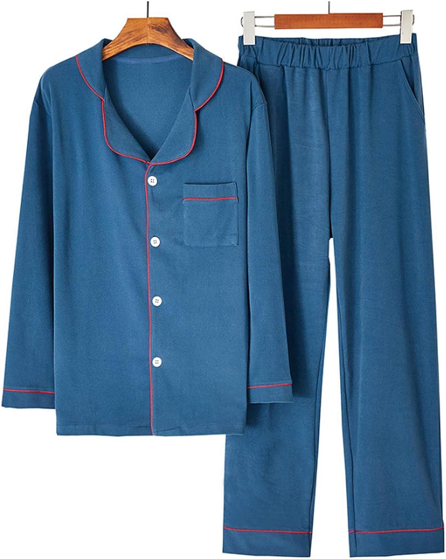 Men's Pajamas Set Long Sleeve Pajama Sleepwear blue XXL
