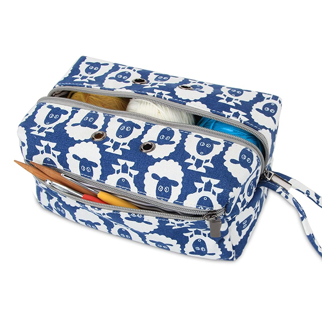 Luxja Small Yarn Storage Bag, Portable Knitting Bag for Yarn Skeins, Crochet Hooks, Knitting Needles (up to 8 Inches) and Other Small Accessories (Small, Sheep)