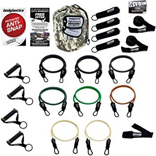 Bodylastics Patented Anti-SNAP Combat Ready Warrior Edition Resistance Band Sets Come with 6 or 8 Exercise Tubes, Heavy Duty Components, a Small Anywhere Anchor, a Bag and a User Book.