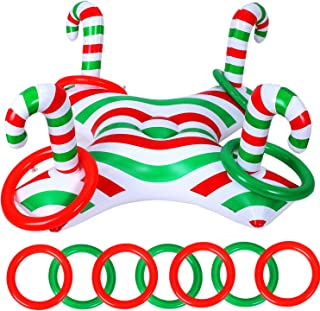 1 Piece Christmas Inflatable Ring Toss Game with 4 Pieces Inflatable Rings Throwing Ring Toss Christmas Cane Game for Chri...