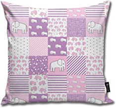 Elephants Elephant Baby Cheater Quilt - Cute Baby Nursery Crib Sheet, Baby Blanket -Purple and Pink_7853 Cotton Home Decor...