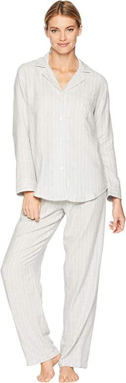 Woven Notched Collar Long Pajama Set