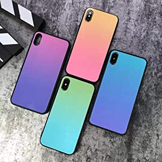 Compatible with iPhone 6/6s, iPhone 6 Plus, iPhone 7 iPhone 8, iPhone 7 Plus/8 Plus Mirror Glossy Color Fading Changing Shockproof & Shatterproof High Fashion iPhone (Peach, iPhone 7 Plus/ 8 Plus)