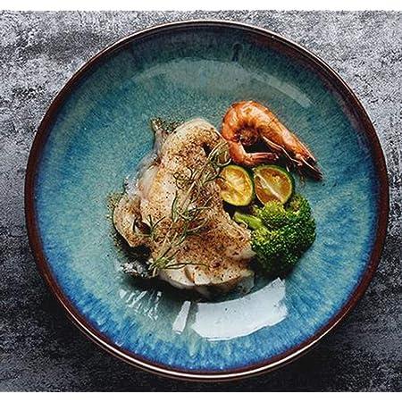 LIXUE Assiette étoile Assiette creuse en céramique Assiette creuse Assiette en grès Assiette à pâtes Assiette à salade 8.5 pouces Bleu