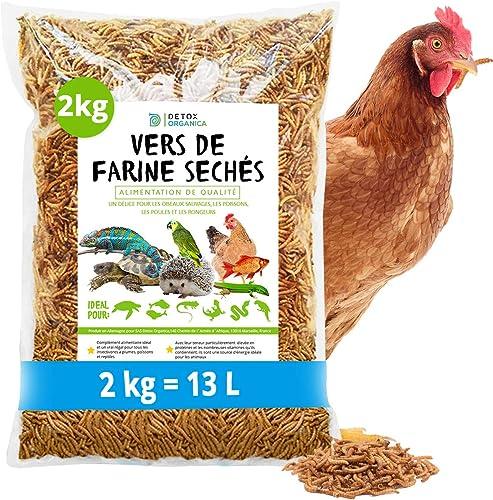 Vers de Farine Séchés-2 kg=13000ml-Nourriture pour Poissons, Oiseaux Tortues, Hérissons, Rongeurs et Reptiles