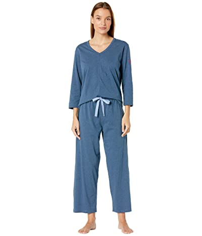 Skin Organic Cotton Blend Heart on Your Sleeve Pajama Set (Midnight Heather) Women
