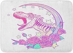 Doormats Bath Rugs Outdoor/Indoor Door Mat Detailed Sketch Drawing of The Roaring Tyrannosaurus Rex on Kawaii Moon and Ros...