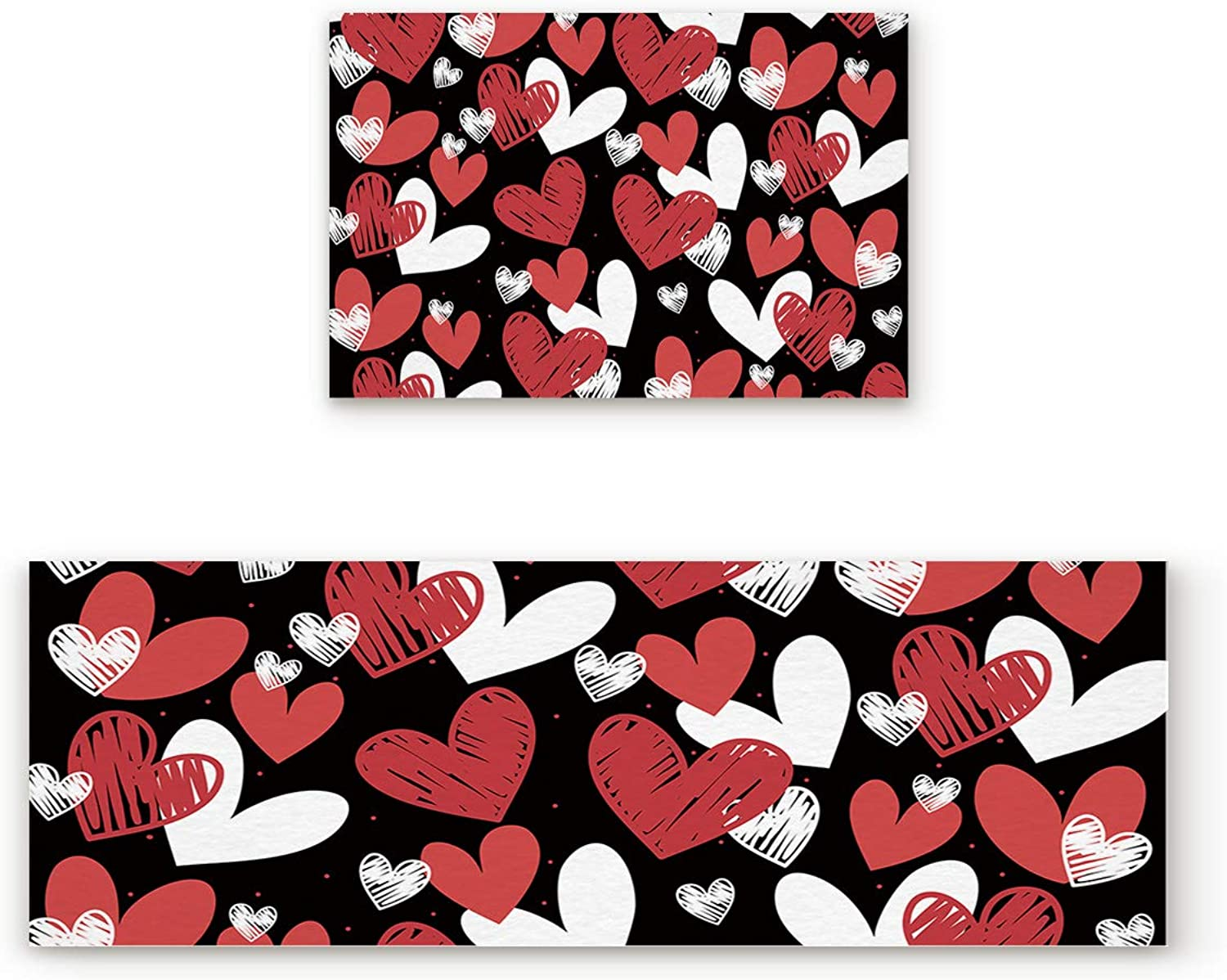 Aomike 2 Piece Non-Slip Kitchen Mat Rubber Backing Doormat Red White and Black Hand Drawn Hearts Pattern Runner Rug Set, Hallway Living Room Balcony Bathroom Carpet Sets (19.7  x 31.5 +19.7  x 47.2 )