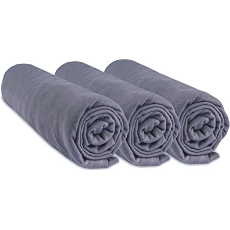 FYLO Lot de 2 draps-housses 100 /% jersey de coton 140 x 70 cm Gris Nuage