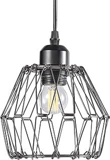 Papasbox Lámpara colgante vintage, 1 llama, deformable, lámpara de techo para comedor, lámpara de techo rústica retro en diseño industrial con casquillo E27, lámpara colgante negra, diámetro de 13 cm