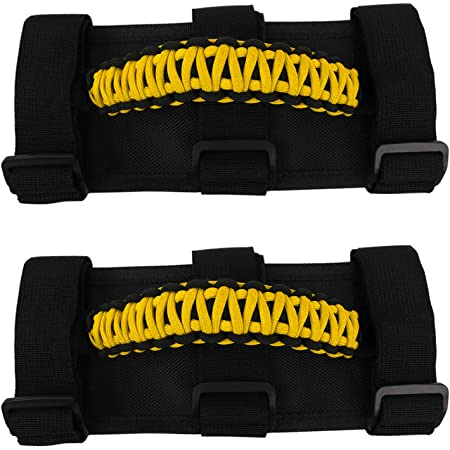 Set of 2 JL Front Roll Bar, Electric Blue Happy Jeepinit Jeep Wrangler Roll Bar Grab Handles Paracord Pick Your Colors
