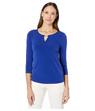 Calvin Klein Long Sleeve Top with Chainmail (Ultramarine) Women