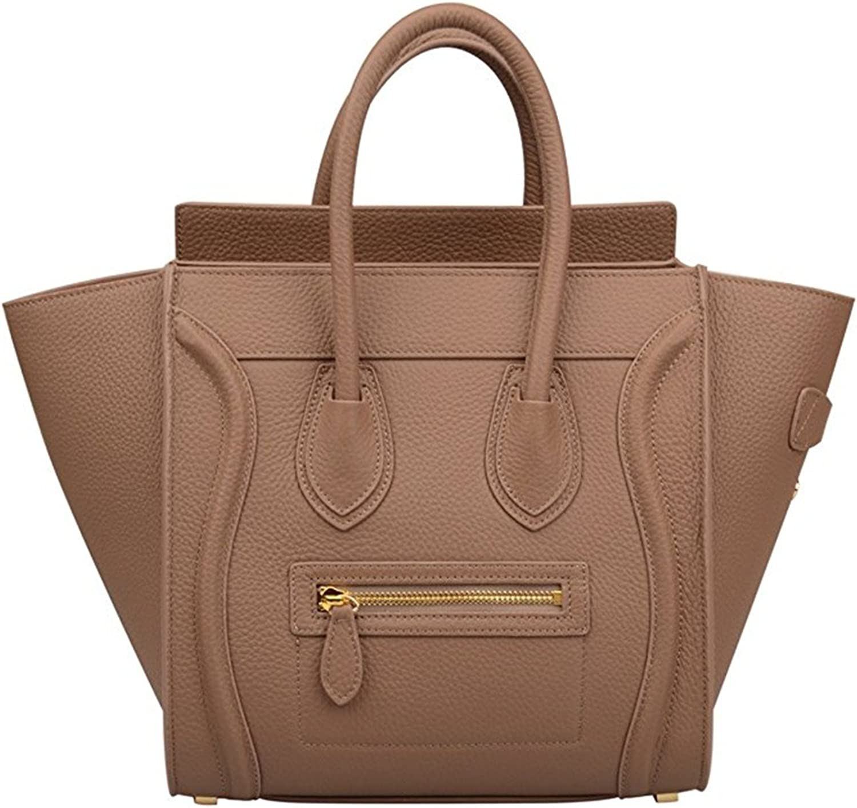 Genuine Leather Smile Top Handle Handbag Purse Khaki