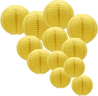 KAXIXI Yellow Round Paper Lanterns with Assorted Sizes for Birthday Bridal Wedding Baby Showers Festival Party Decorations, 12PCS